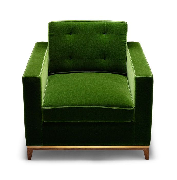 Emerald green velvet and mid-century modern chair for the lounge.