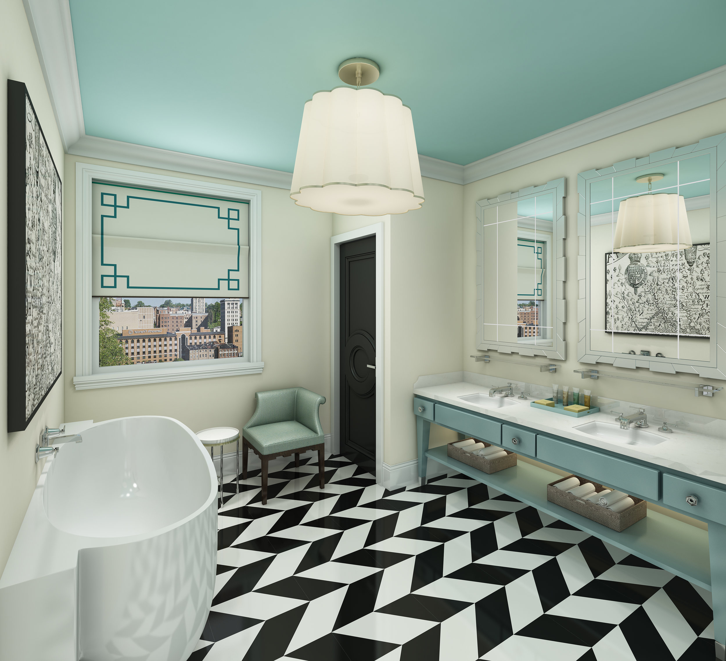 The bathroom is all about the story of the building. The stylistic elements draw upon the host city and state.