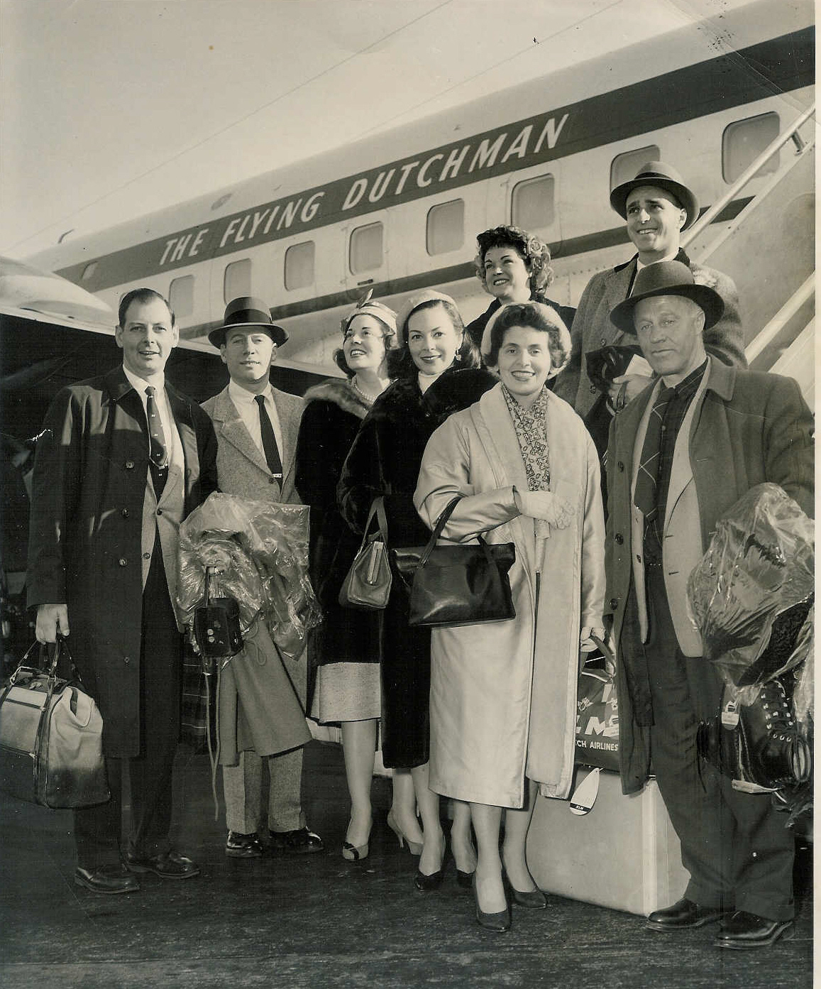 Jan found her wanderlust early in life and traveled the world from Africa to Europe, Russia, South America, Japan, and most of the United States. Shown here, third from the left, she and Edward are on their way to Europe.