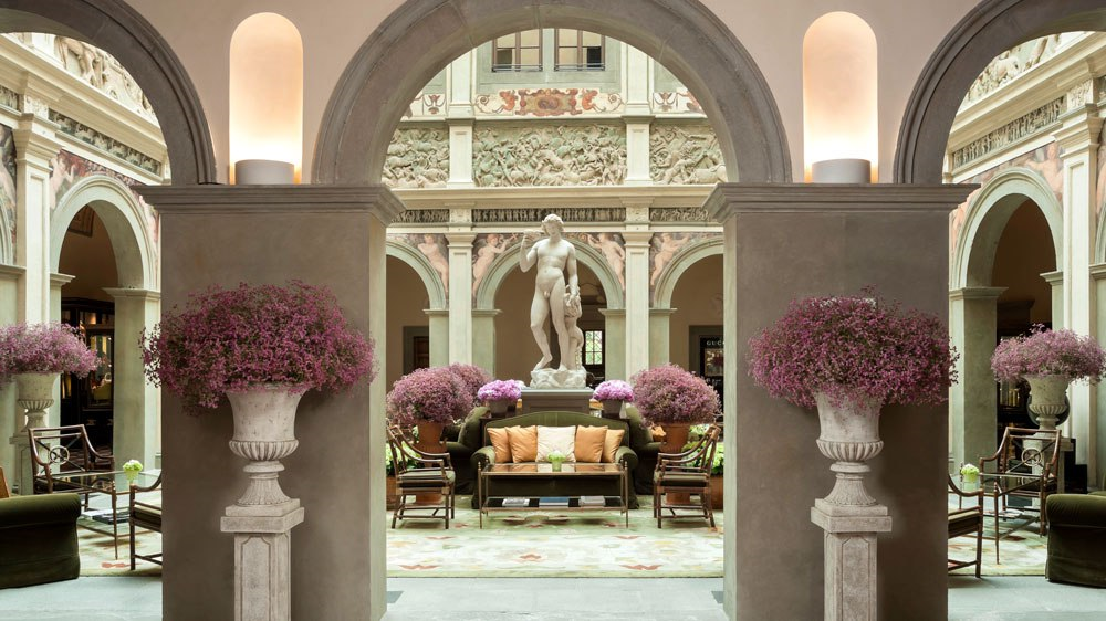 Four Seasons Hotel Atrium in the historic Palazzo Scala Della Gherardesca. Our exclusive tour group will share a luxury brunch followed by a tour of the house and gardens with the hotels general manager.