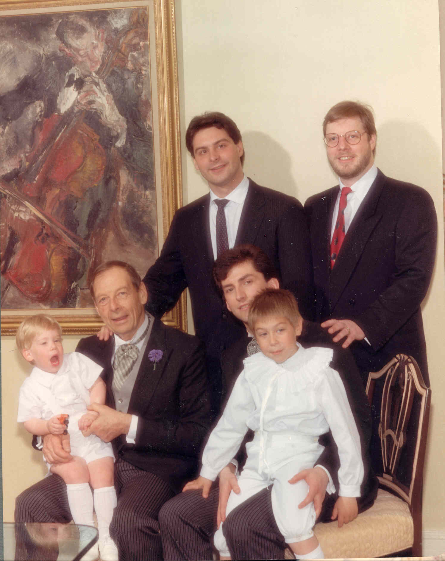 Three generations of Tishman men and a southern invader on my wedding day in 1988. Standing is Andrew Tishman (left) and Douglas Tishman. Seated is Edward holding his grandson Adam and me holding my nephew Justin. It was a magical day in New York.