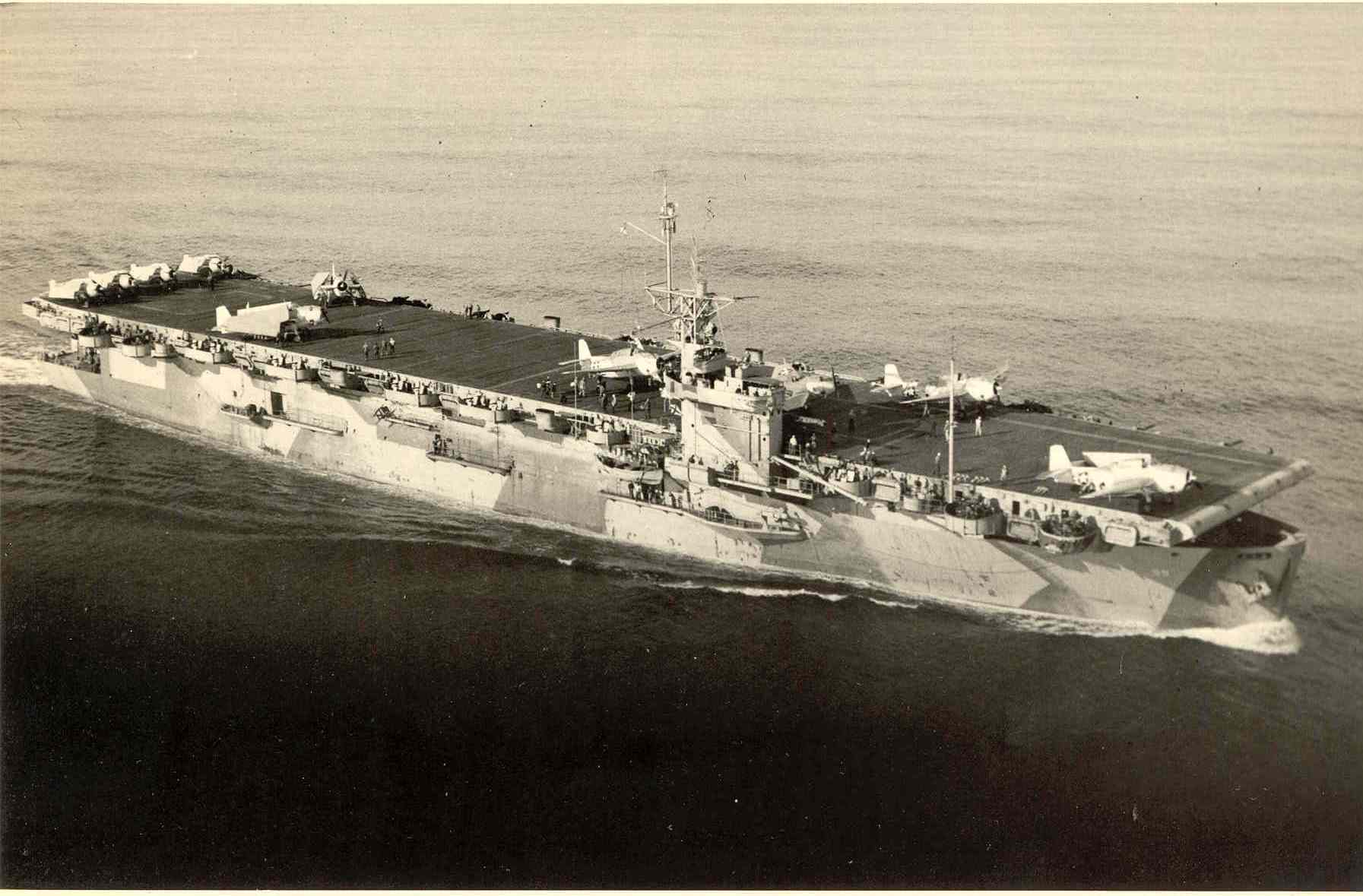U.S.S. Mission Bay. Edward Tishman served aboard this vessel in the Pacific arena during World War II.
