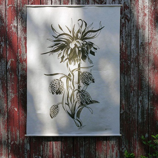 New designs in progress. Botanical print wallhanging photographed against a Nordic barn. Finally getting dark here after a day taking photos, avoiding bees and swimming in a  forest lake