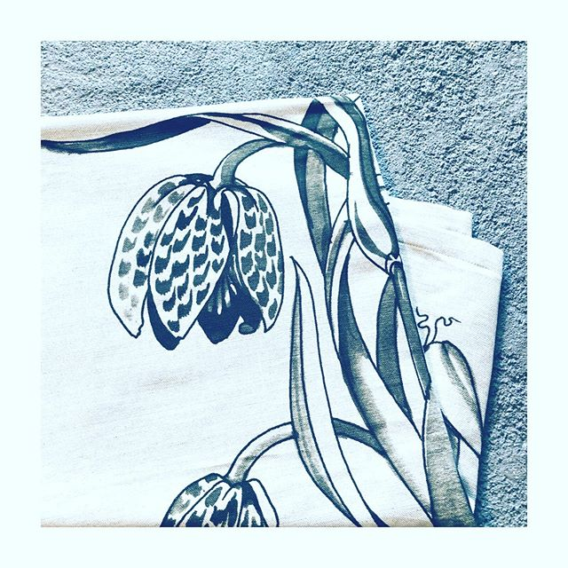 Detail of fritillaries against concrete taken from our new linen wallhanging. All our designs are inspired by the work of tapestry designer Penny Burns and these wonderful pen and wash preliminary drawings celebrate her skill and integrity as an artist in all its beauty.