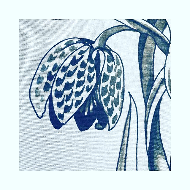 Detail from our new linen botanical wallhanging. Not totally a day to get out into the garden for the non-dedicated so bring the garden inside and enjoy it with a cup of coffee, Netflix and your sofa. Up on the website soon to buy. Taken from a line drawing for a tapestry by the eponymous artist c. 1990s. Fritillaries.