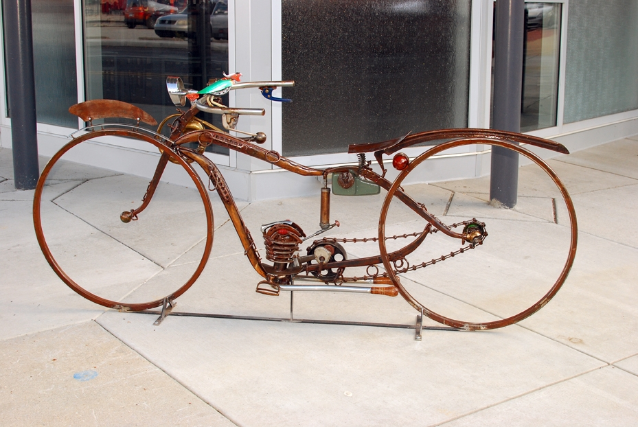 Motorcycle by local artist/fabricator Bob Machovec.