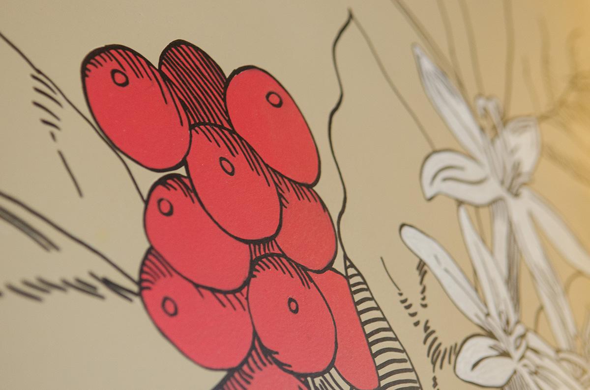 ilustração manual sobre parede | detalhe