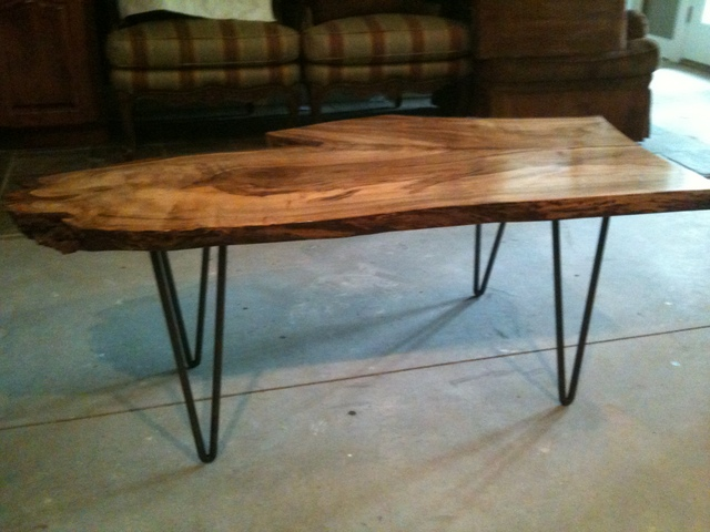 Coffee Table In Spalted Maple & Wrought Iron