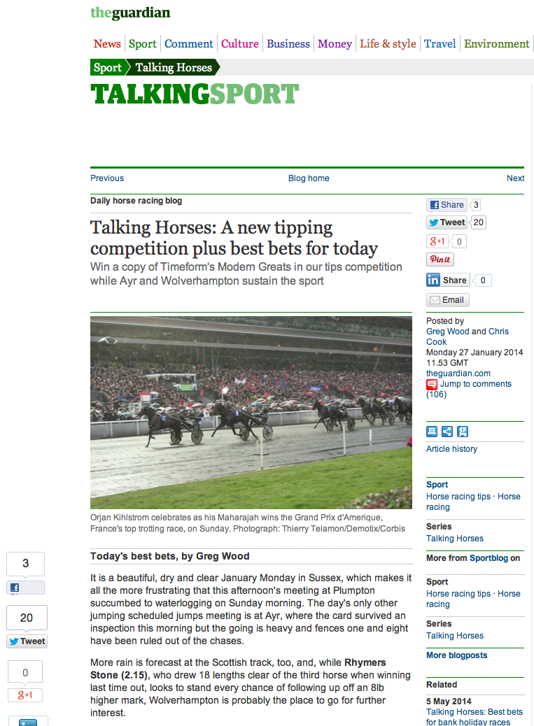 The Guardian Newspaper's blog - January 2014