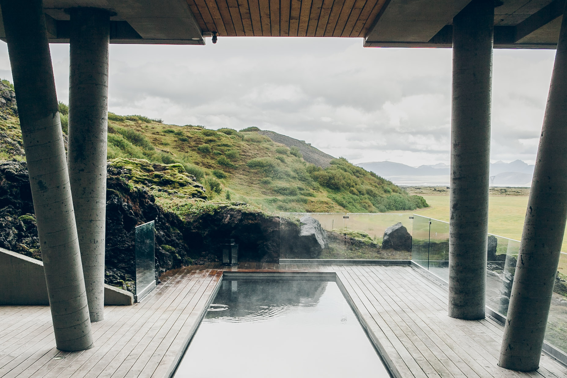 The naturally heated spa pool