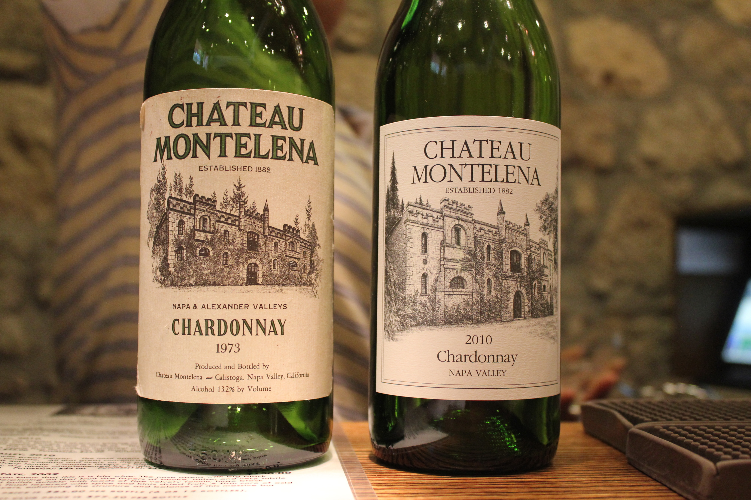 Chateau Montelena's Battle of Paris winning 1973 Chardonnay alongside the current 2010 release