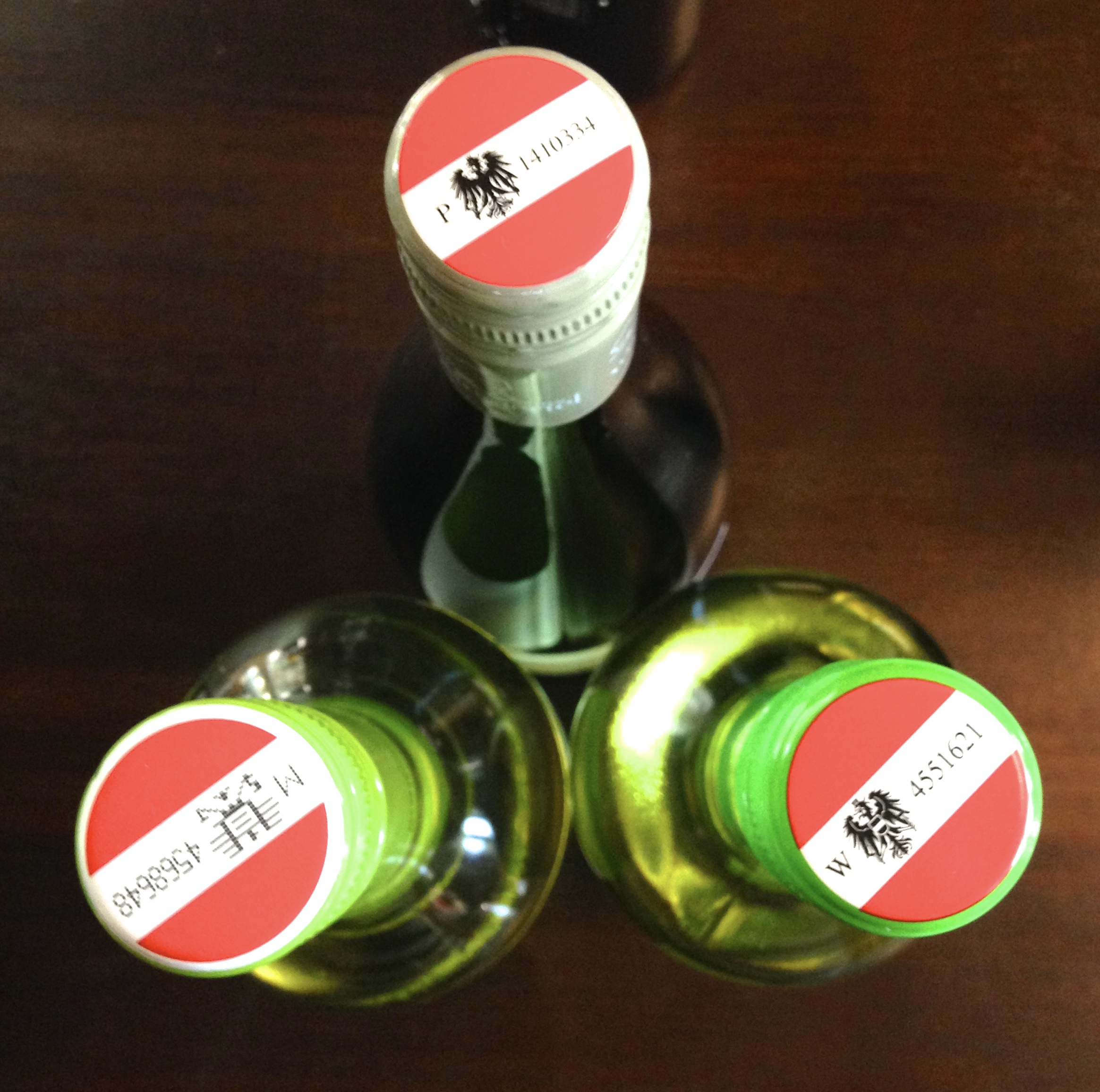 Austria makes it easy to find it's wine in a rack with distinctive patriotic flair
