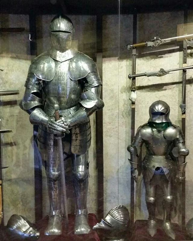 Armour displays at the Golden Lane, Prague Castle.