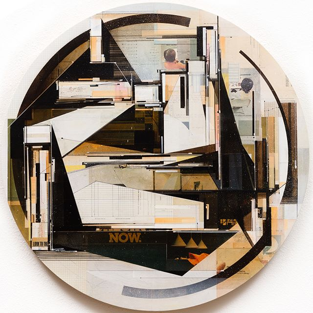 Look to the now, 2017 36 in. diameter x 1.5 inches deep Found paper, acrylic, screen-print, ball point pen, graphite and white-out on cradled birch panel. Sealed in archival matte varnish.  __________________________________________________ In parallel to my Parisian gallery @galerieopenspace exhibition of Logan Hicks, on display till February 24, the gallery has proposed a collective hanging of works of their artists and collection. 'Look to the now' is one of several works of mine in this collection. Contact contact@galerieopenspace.com for availability. __________________________________________________ #vintagefuturism #collisionist #graffuturism #builtpaintings #compartmentalize #geometric #abstractart #abstracción #nonobjective #californiaart #constructionism