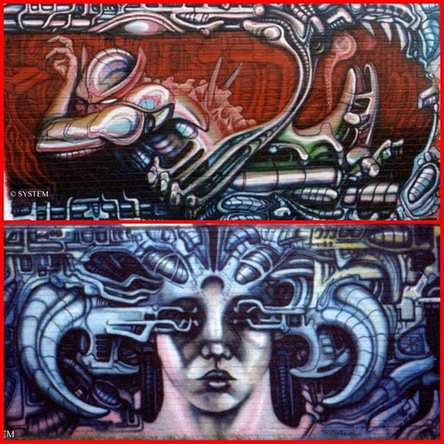 In 1989 myself, Stormie and Part2 moved away from traditional piecing and started experimenting. Eventually meeting other like minded painters like Juice126 to form Ikonoklast Movement in 1990. I had decided to work in the the style of HR Gigers biomechanics. I called it Gigerism. He was my master, even if he wasn't aware of it. A lot of airbrush artists in the alternative dark art scene were inspired by him. But I wanted to be the one to do it in spray paint. I learnt a lot studying him. Necronomicon I and II and Gigers NY City are my testaments I worship religiously. Giger lives on in us. We are not worthy. #hrgiger #hrgigerinspired