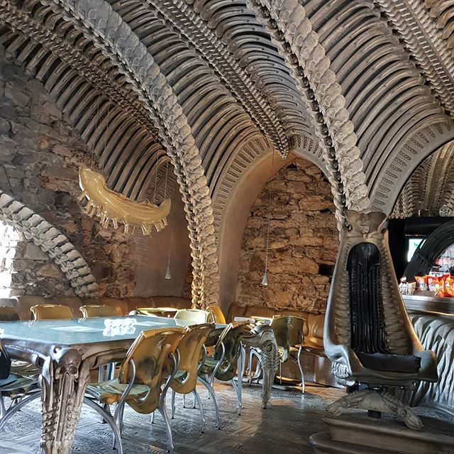 Giger Bar. You can't have a trip to the Giger Museum without a visit to the Giger Bar. I want my house like this. Best interior decoration ever. #hrgiger