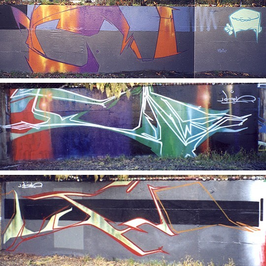 """#flashbackfriday - Around '98-'99 there was this really low, maybe 5' tall, """"legal"""" wall in the NW industrial area of Portland. I never quite understood if it really was legal, but workers never said anything so... you keep going until until the cops show up. Anyway, I spent a lot of time at this wall working out several different styles. This era was a very experimental time for me. I was finding a new love for learning how letters interacted with each other when put together as an overall piece, not just individually, and how to break down letters and the overall piece to its most simple form. As is evident in some of these outlines, this was also a time where I was heavily inspired by Abuse WND. While maybe not immediately obvious, what I really liked about his work wasn't just the letters, but the style. When you saw an Abuse piece you knew who did it. The letters were there, and really good, but the style... the style was original, unlike anything else being done. That inspired me. Also a big inspiration for me during this time was Mune and Kema. They were living in Portland at the time and we were constantly pushing each other to go one better. Their drive to see Graffiti in a different way was always incredible to watch. Painting several times a week, multiple full-color blackbook pages a week, bombing, stickers... those guys were busy pushing themselves, and me, to be better. And more important, to be original."""