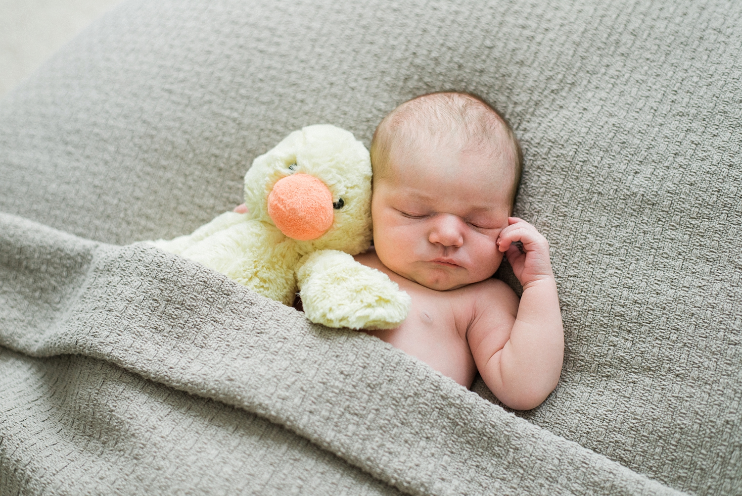 portland-newborn-photographer-baby-girl-with-duck-stuffed-animal-black-and-white-03