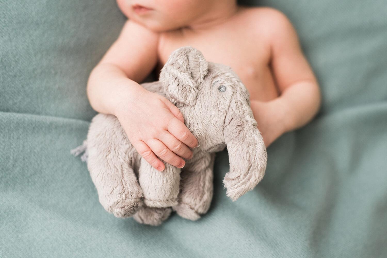 best-portland-oregon-newborn-photographer-sleeping-baby-fingers-hands-elephant-plushie-shelley-marie-photo-4.jpg