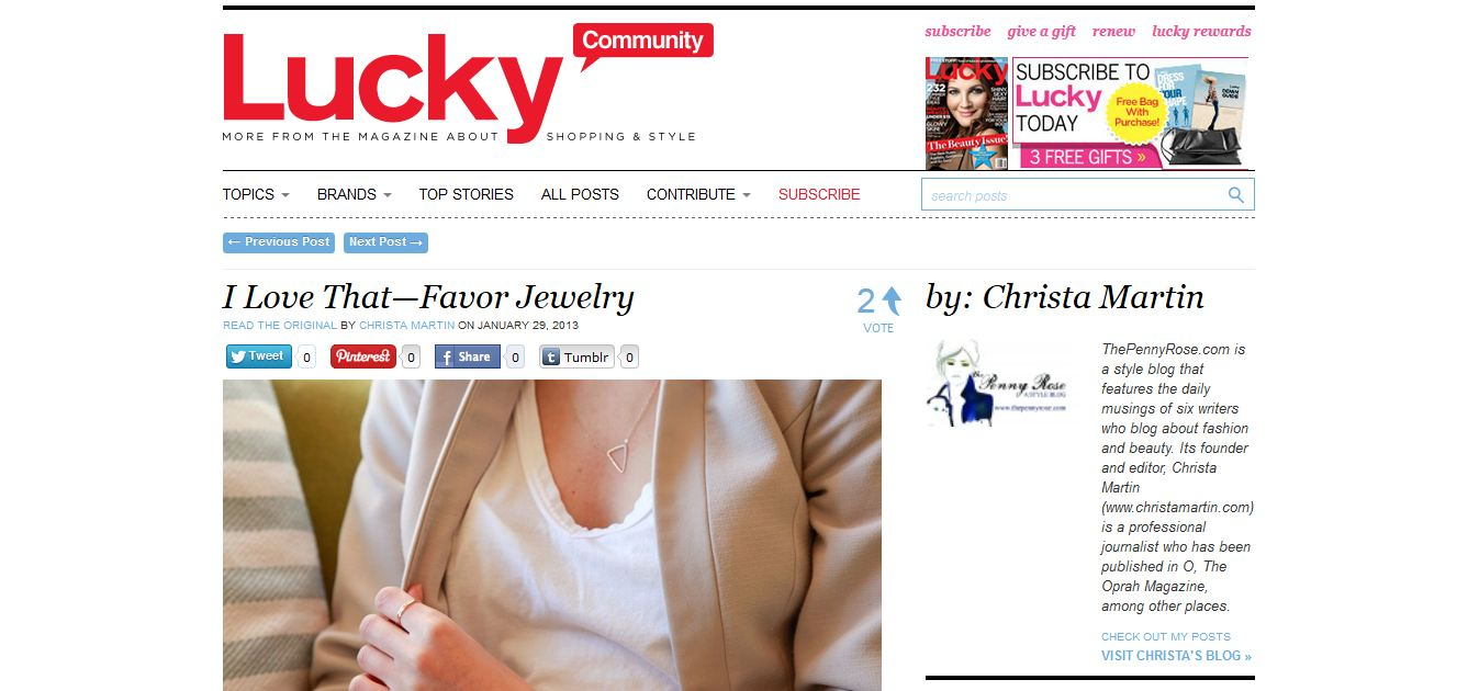 Lucky Magazine I Love That - Favor Jewelry