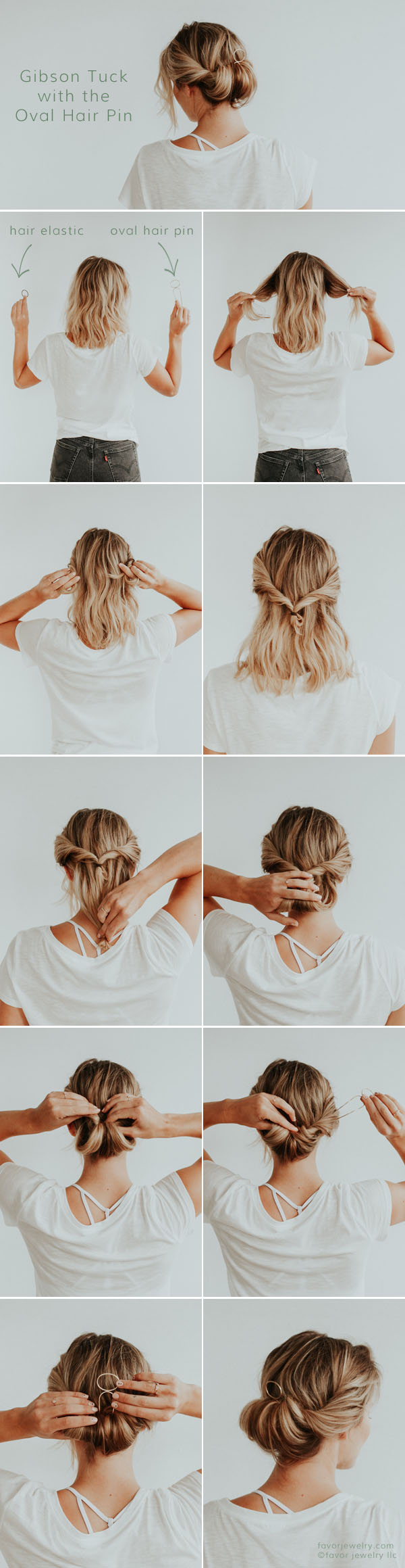 Romantic Gibson Tuck Hair Tutorial with Modern Hair Pin by Favor Jewelry
