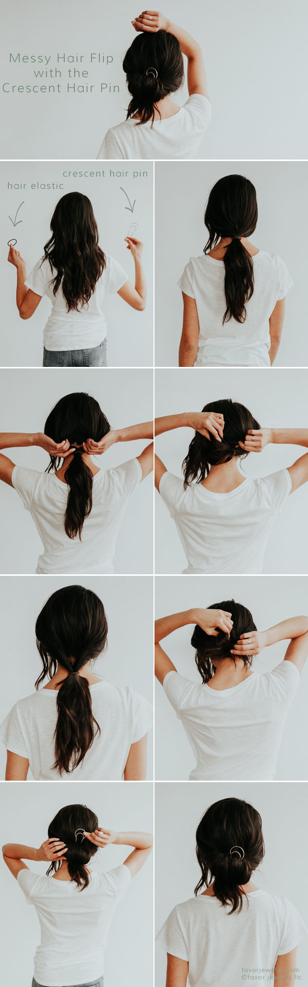 Messy Hair Flip with the Crescent Hair Pin | Favor Jewelry