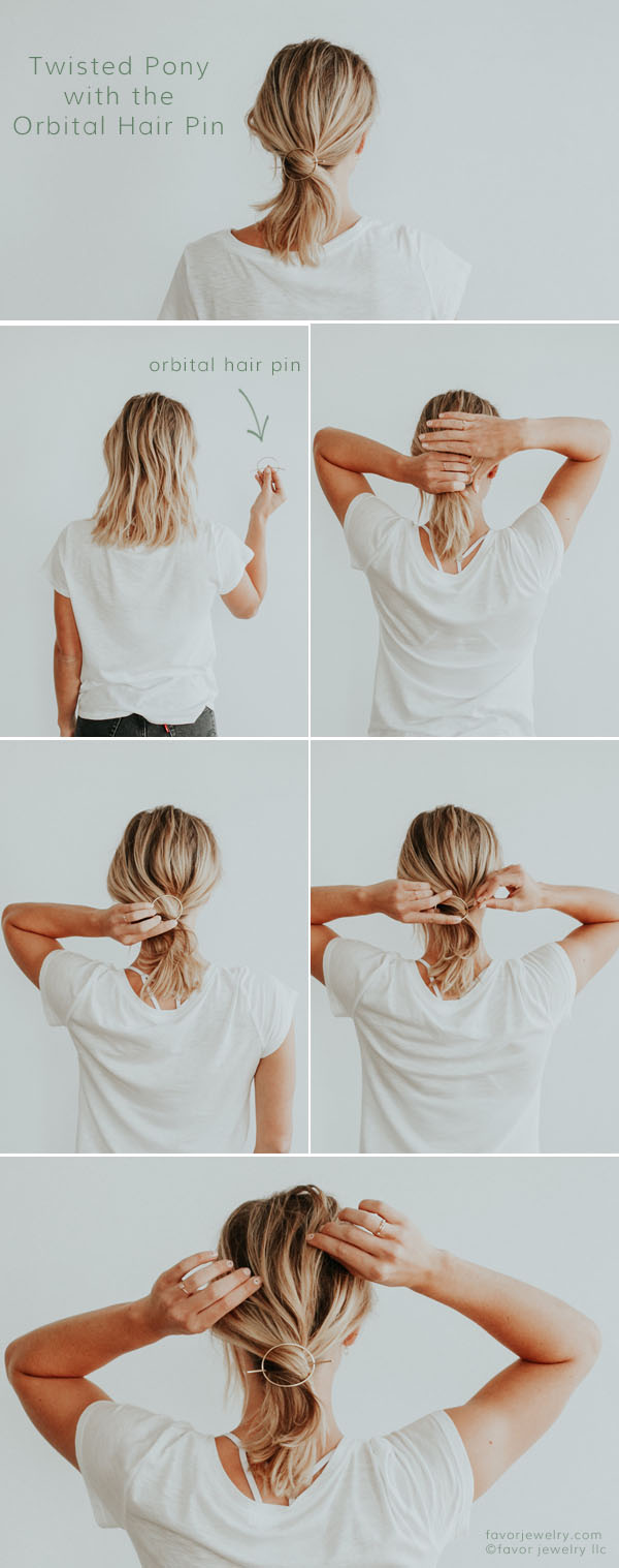 Easy Hair Styles for Short Hair Twisted Pony with the Orbital Hair Pin | Favor Jewelry
