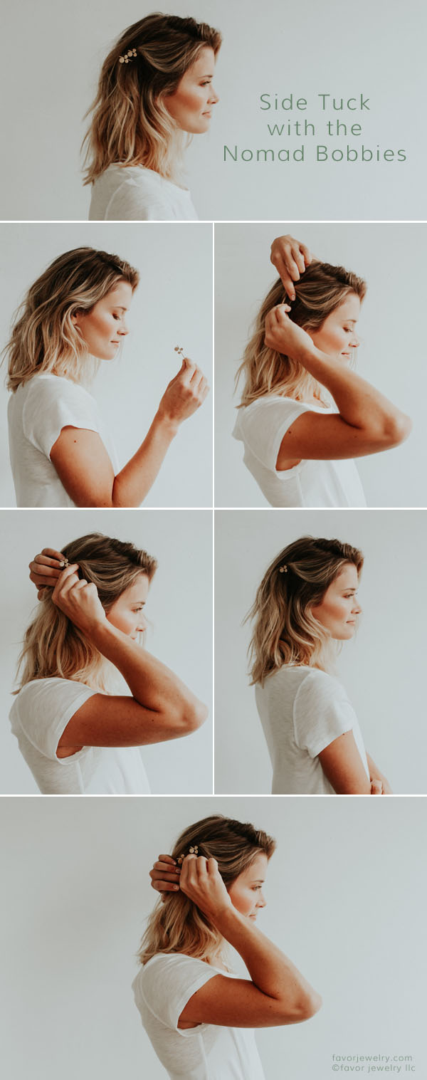 Quick Hairstyle Side Tuck with the Nomad Bobby Pins | Favor Jewelry
