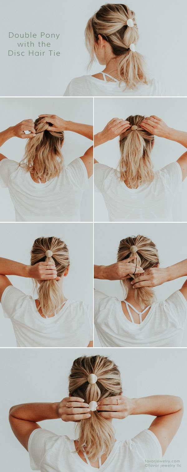 Double Pony with the Disc Hair Ties by Favor Jewelry, hair tutorials, step by step, easy hairstyles