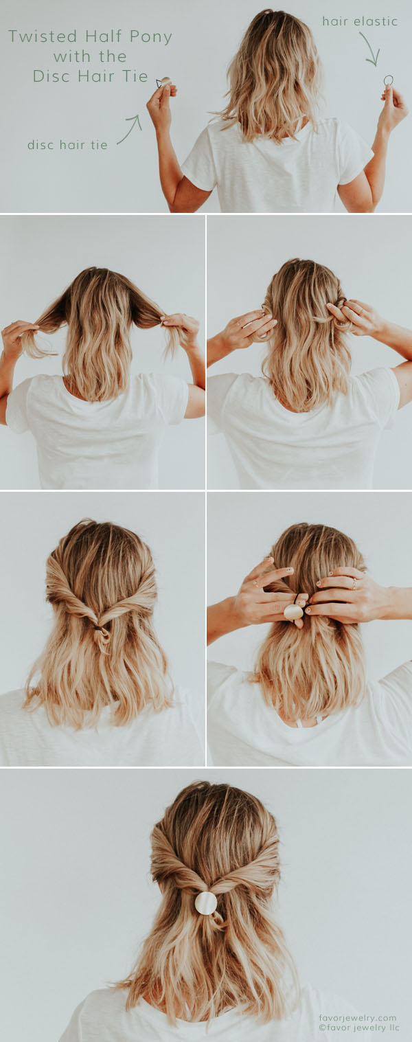 Twisted Half Pony with the Disc Hair Tie | Favor Jewelry