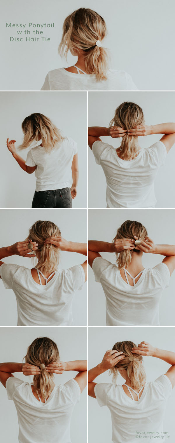 The Perfect Messy Ponytail with the Disc Hair Tie | Favor Jewelry