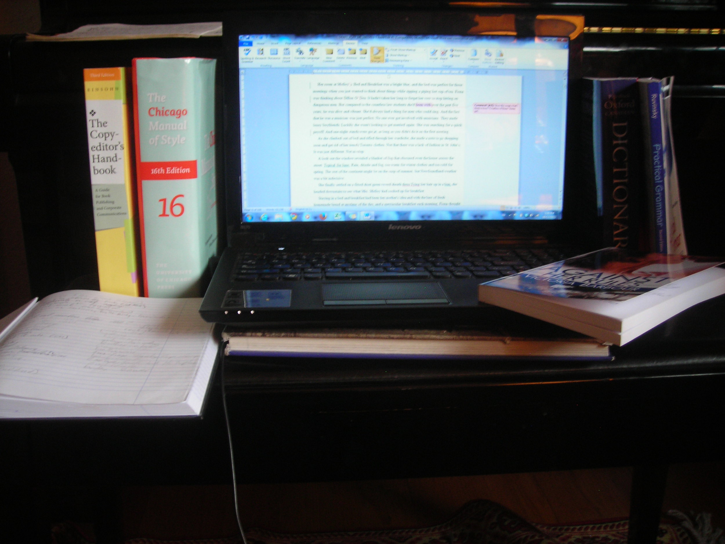 This is a shot Anne sent me ages ago of her work space when she was hard at work on the Heart's Ease series.