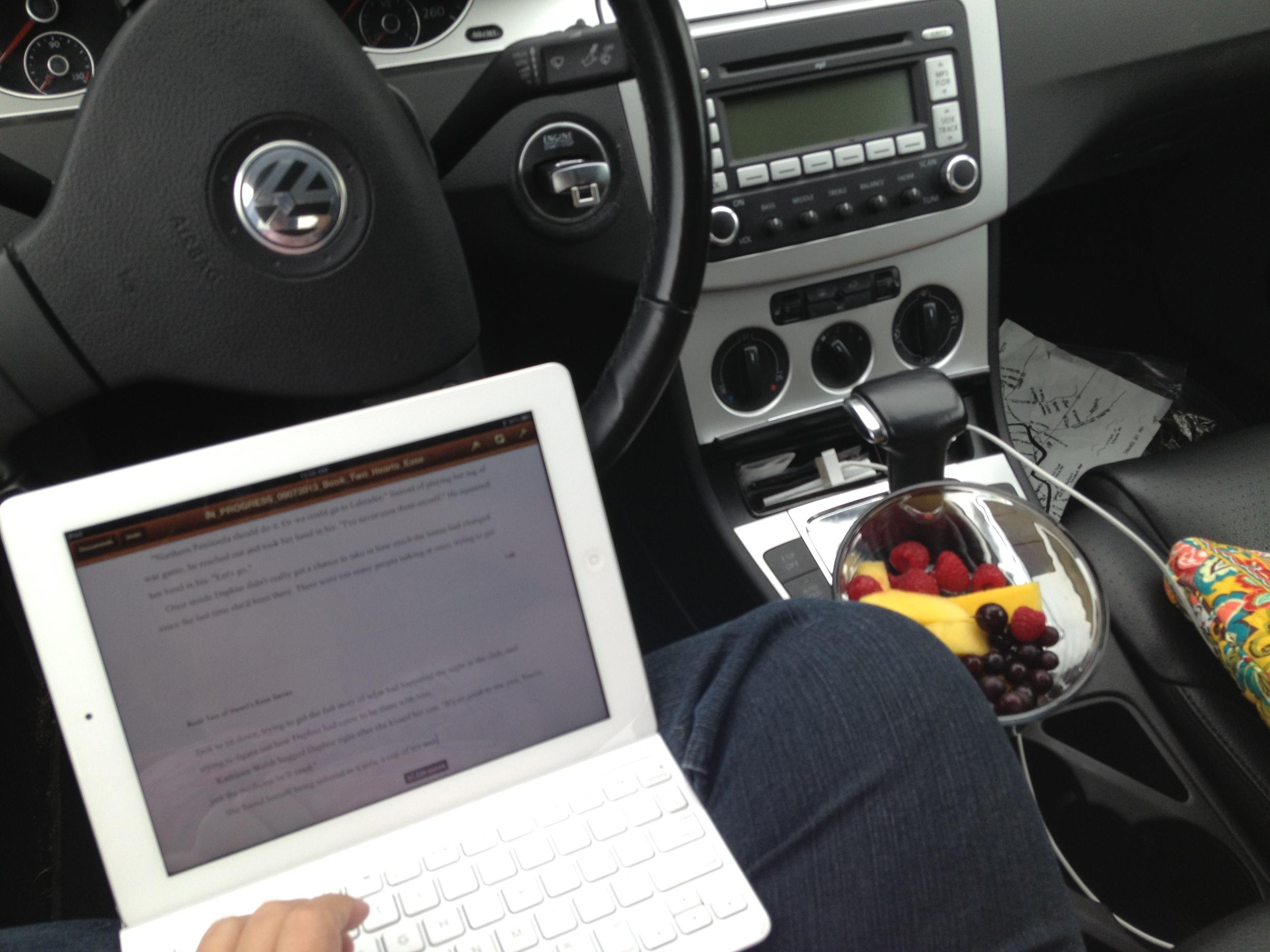 I write in my car on my iPad.