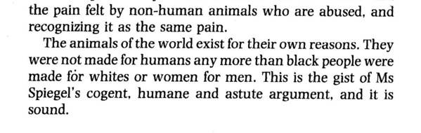 Alice Walker's famous quote, comparing the oppression of non-human animals to the oppression of human sub-groups.