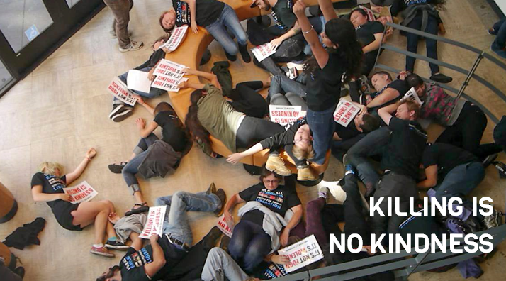 """Dozens of activists converge at a Chipotle in San Francisco, collapse to the ground, and form a blockade with their bodies. Chipotle is one of the world's leading proponents of the """"humane myth."""""""