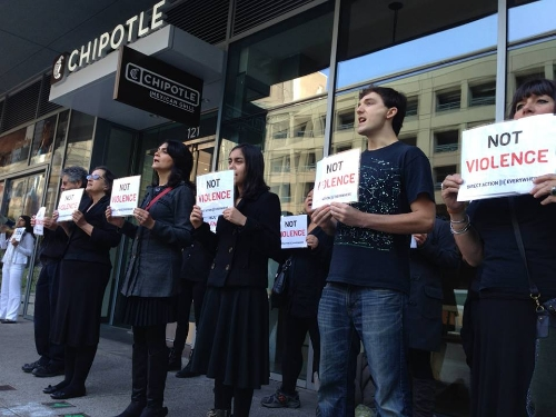 Protesters at a San Francisco Chipotle location.