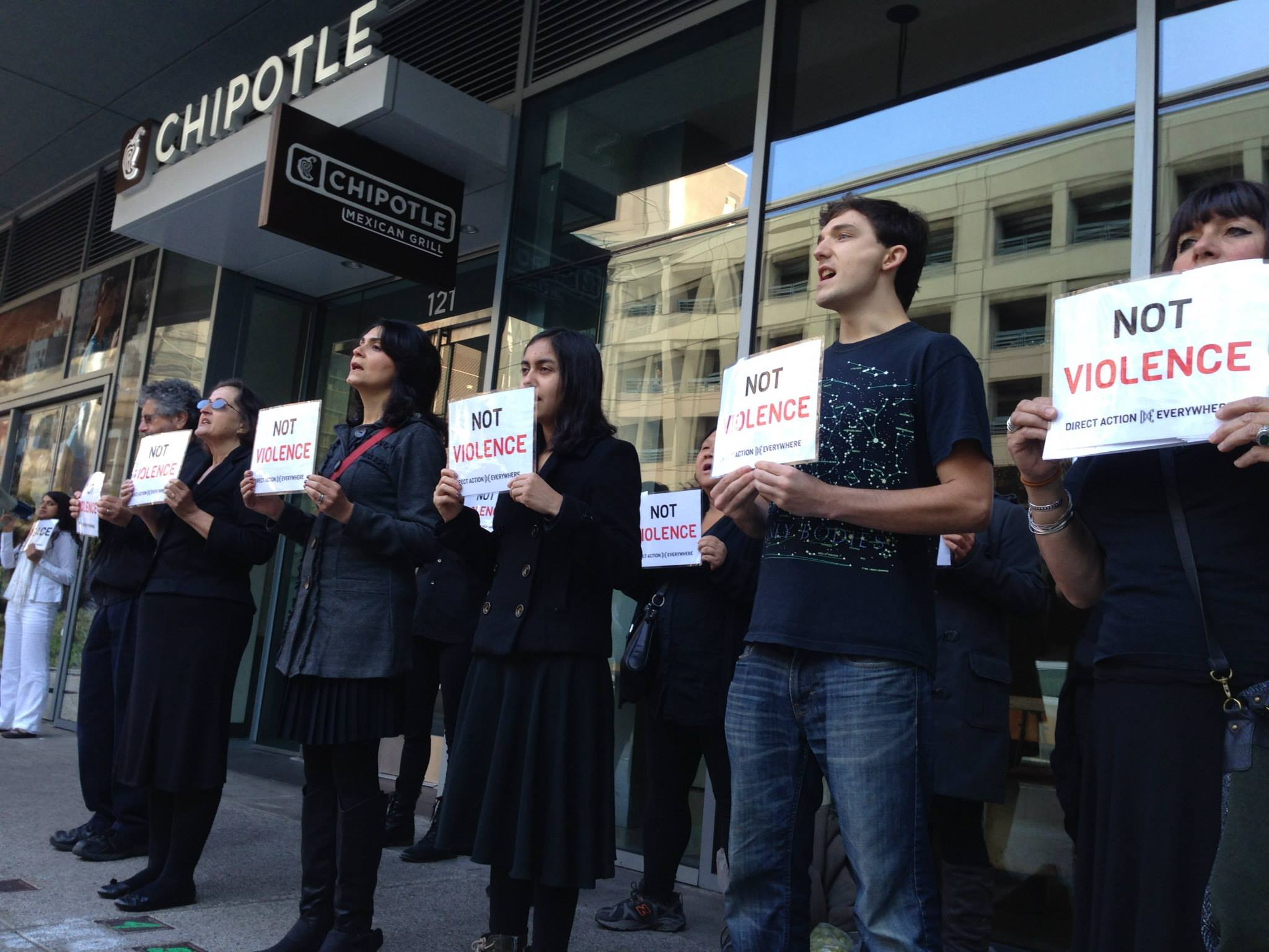 Activists in San Francisco protesting Chipotle.