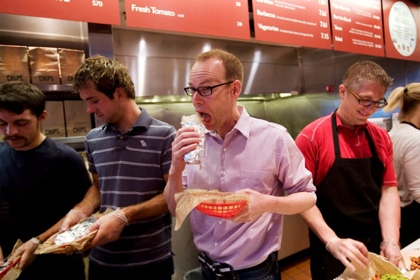 Chipotle CEO Steve Ells feasts on a $300 million pay package while his workers (and animals) suffer.