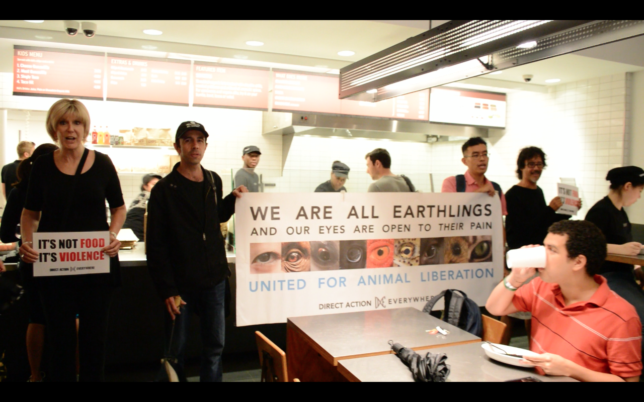 Activists in Boston bring the silenced voices and cries of animals into Chipotle, where their bodies are sold.