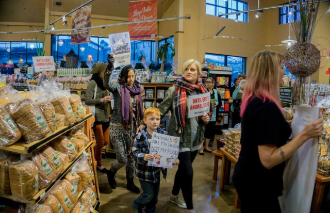 """Nolan and others at DxE Vancouver's """"Free Range Fraud"""" demonstration, January 2015."""