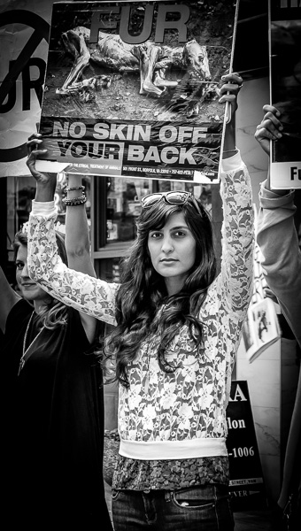 Fur protester in black and white