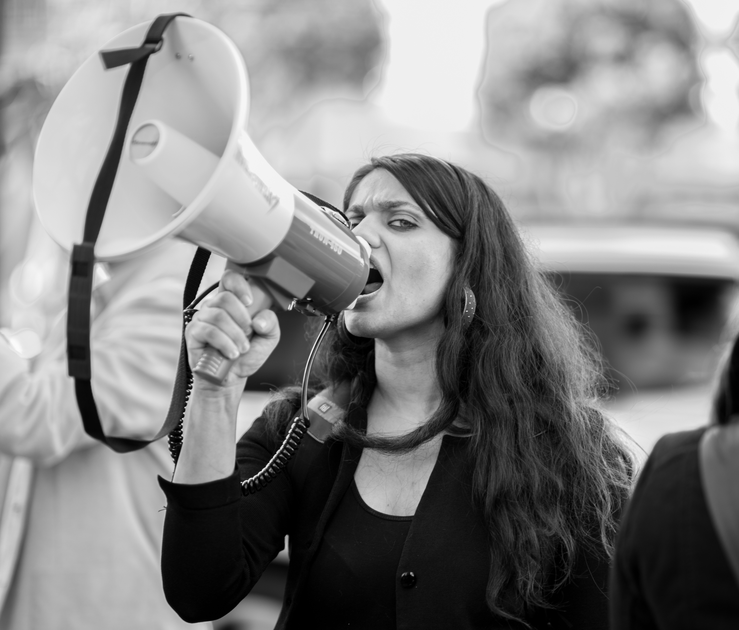 DxE organizer Priya Sawhney speaking out at the Whole Foods demonstration on January 11, 2015.
