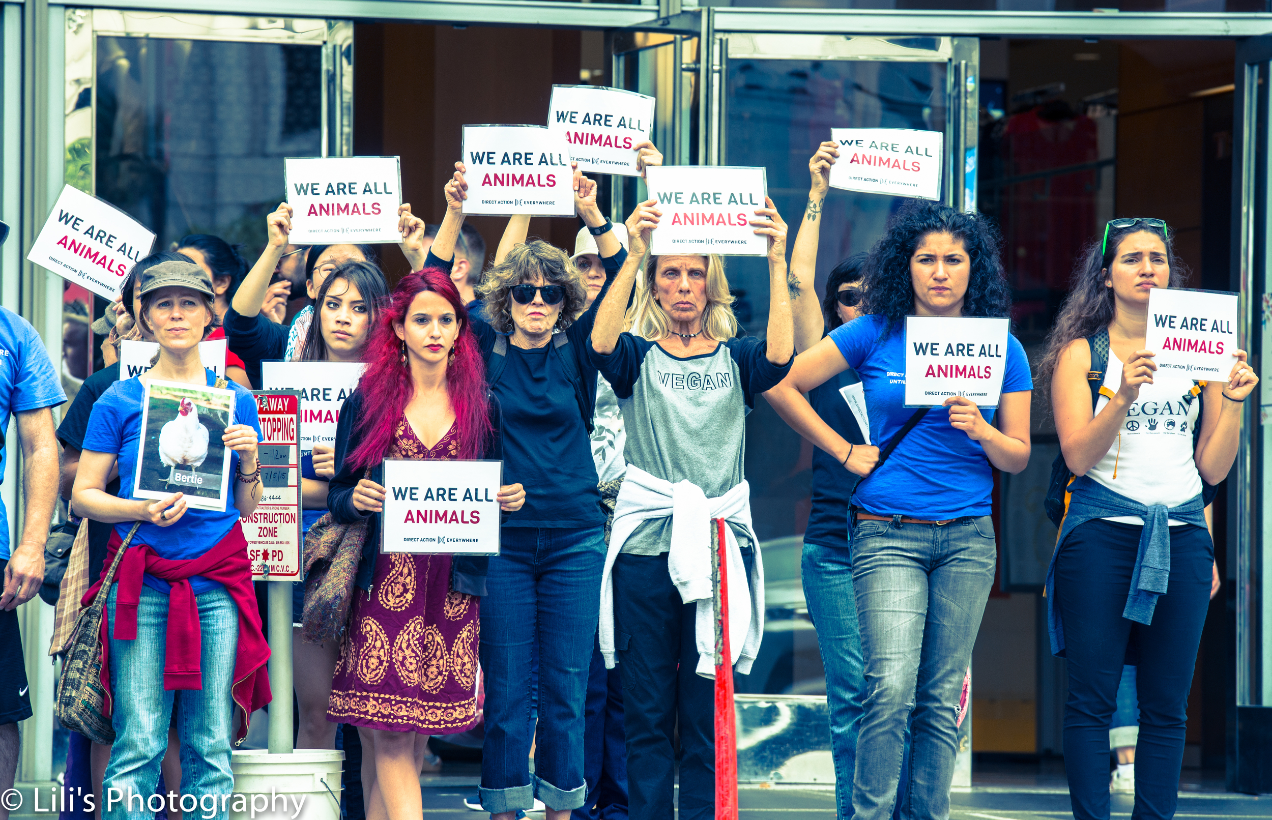 Women standing strong for animal rights.