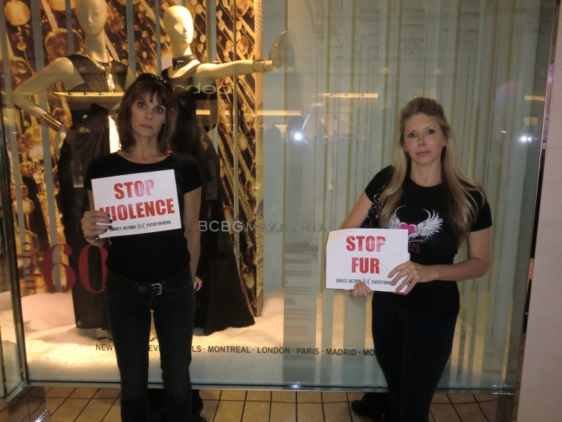 Alexandra Paul and TV host Michelle Harris in the Beverly Center on Fur Free Friday, Nov. 2014.