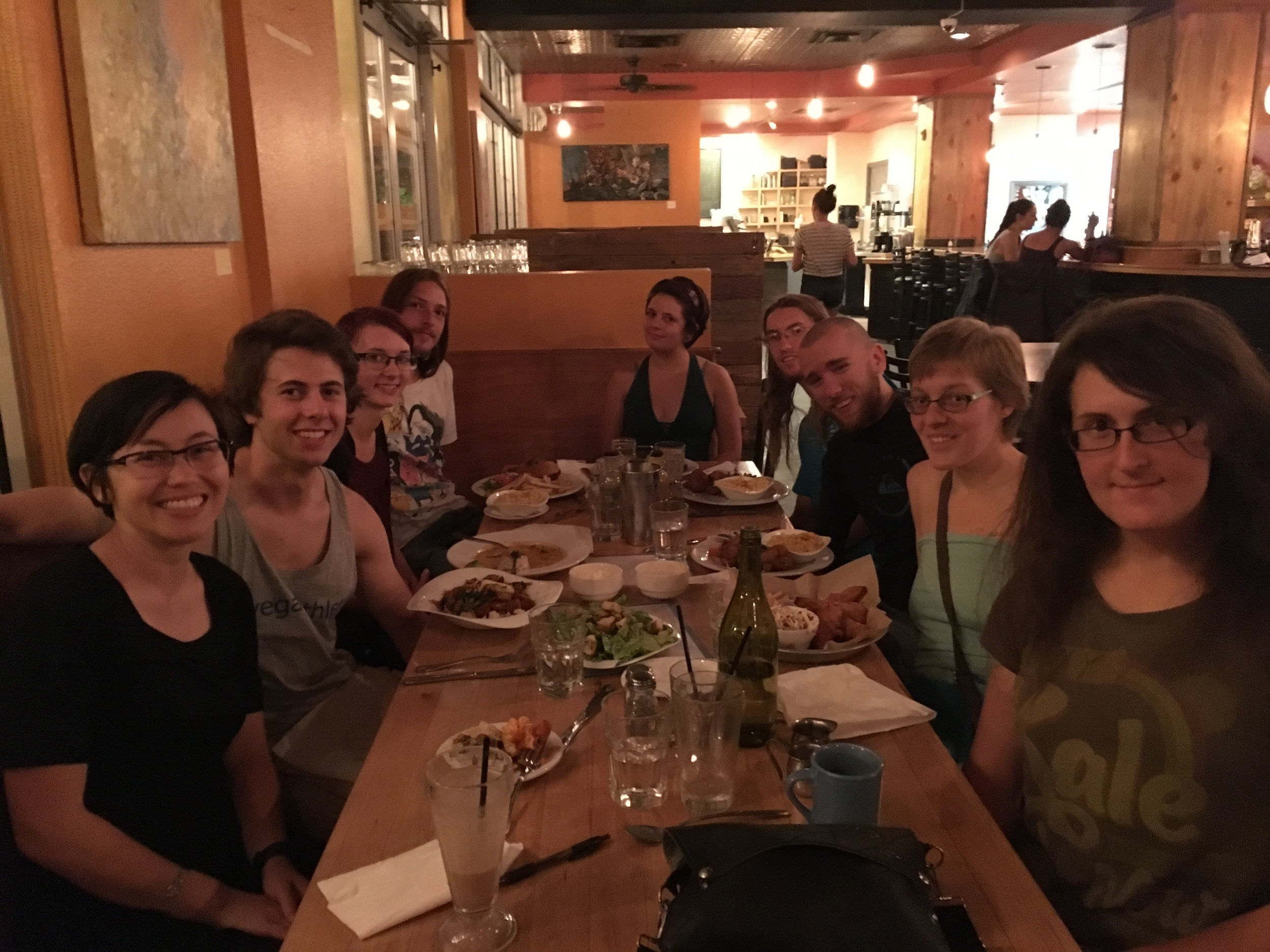 Everyone enjoys a vegan meal at Watercourse after the activist were released from jail