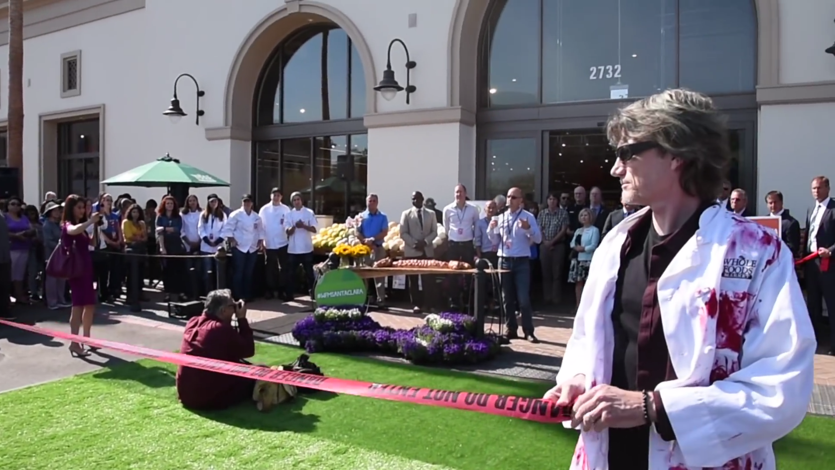DxE activists cordon off  the grand opening of the Whole Foods  in Santa Clara, CA.