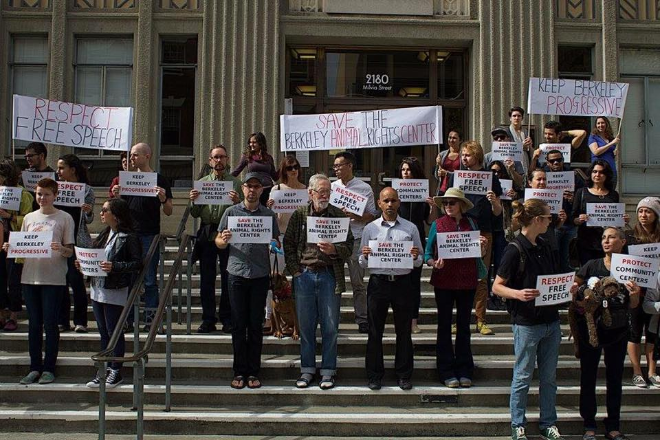 Animal rights activists rally for the  Berkeley Animal Rights Center .