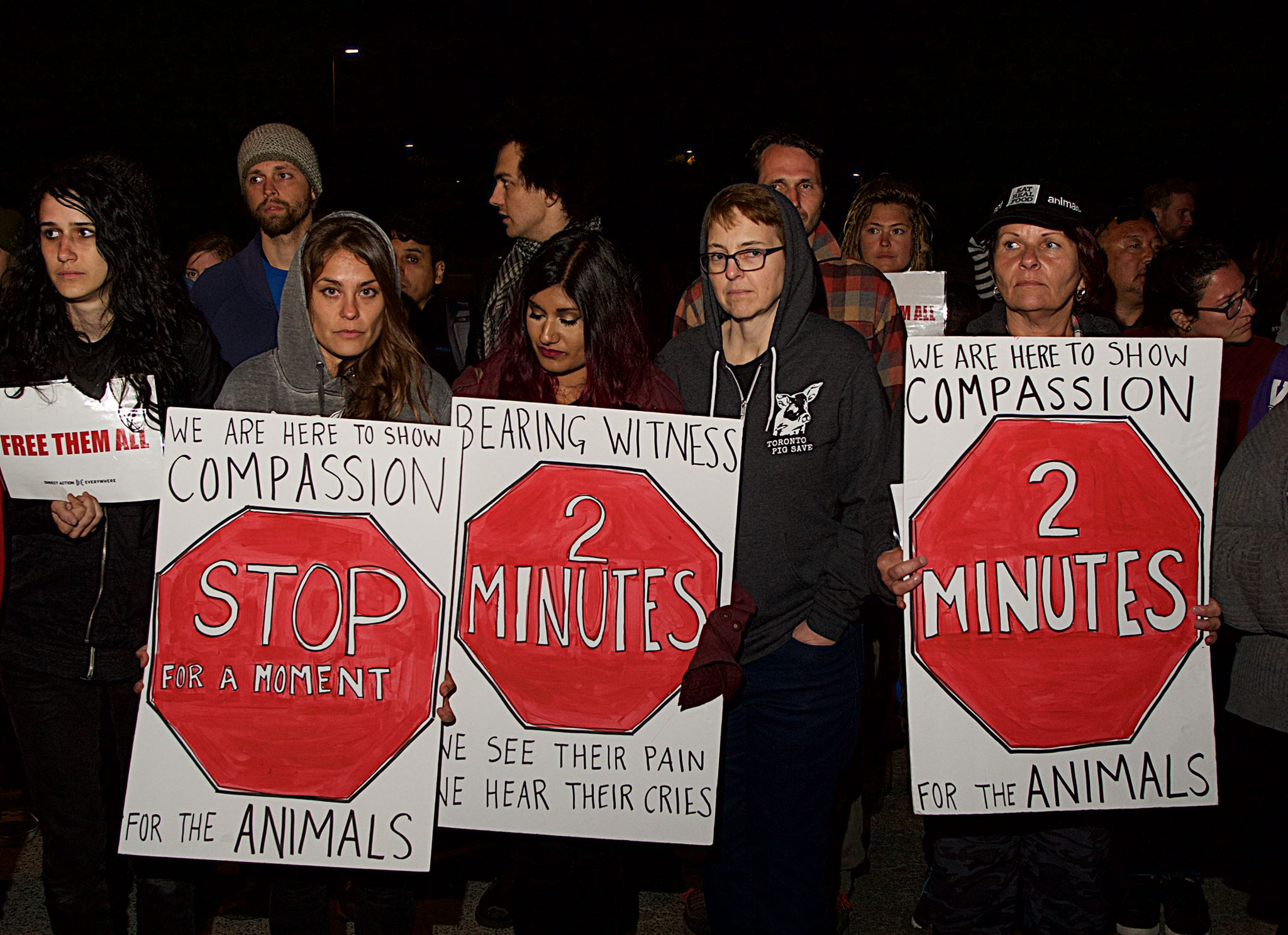 Activists stage a vigil and blockade at a slaughterhouse in Petaluma, CA. Photograph by Michael Goldberg.