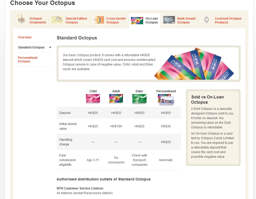 Octopus card options