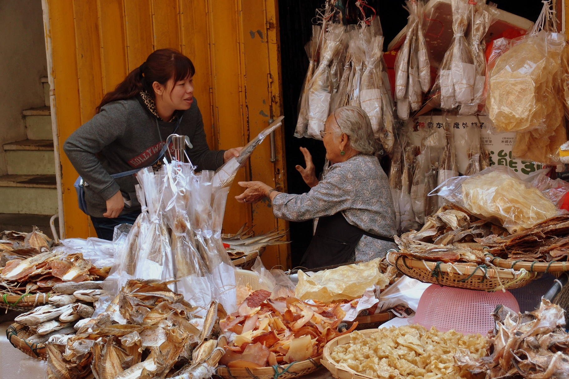 Selling dried fish to scrape a living on Cheung Chau